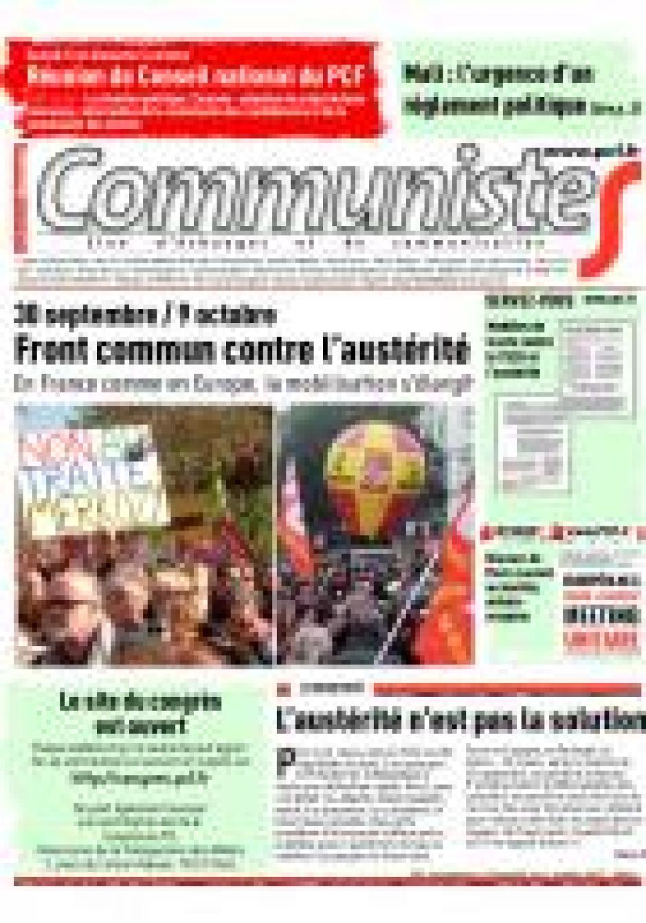 information et présentation de la plaquette Energie par G.S dans le Journal CommunisteS n 492 - 11 octobre 2012.