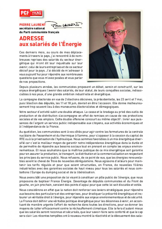 ADRESSE - aux salariés de l'Énergie - PIERRE LAURENT secrétaire national du Parti communiste français