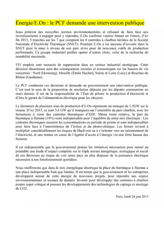 Énergie/E.On : le PCF demande une intervention publique