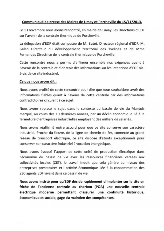 Communiqué de presse des Maires de Limay et Porcheville du 15/11/2013.
