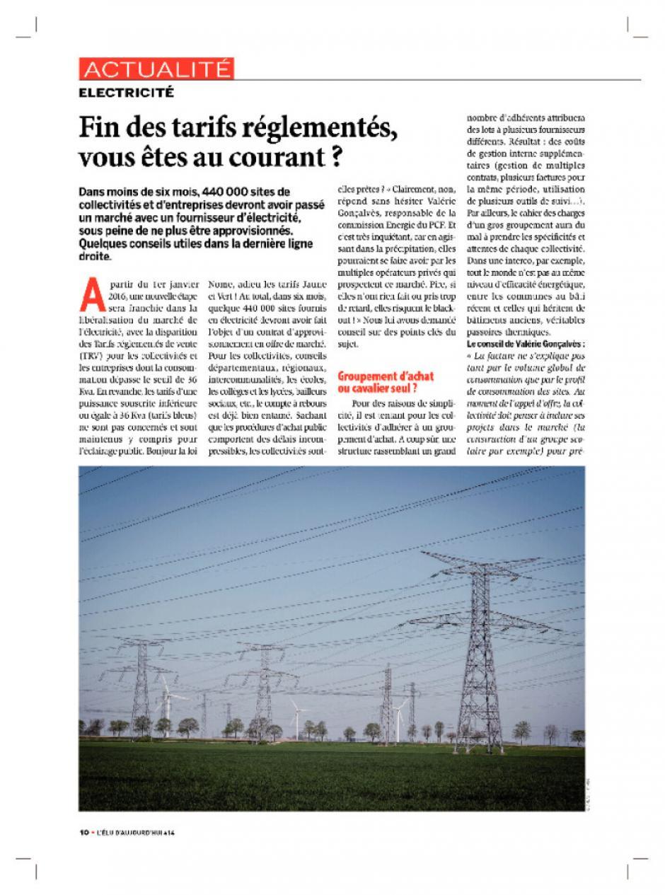 Electricité-Fin de tarifs réglementés, vous êtes au courant - Art dans L'Elu d'aujourdhui  juin 2015 - Pages de 414