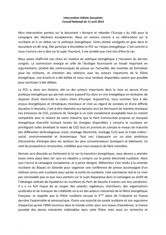 Intervention de Valérie Gonçalvès - Conseil National du 11 avril 2014