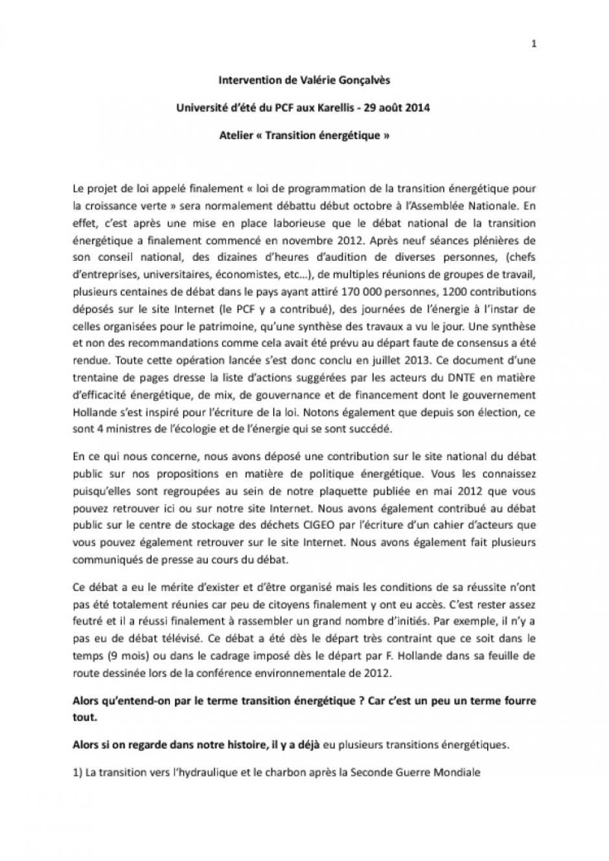 Intervention de Valérie Gonçalvès Université d'été du PCF aux Karellis - 29 août 2014 -  Atelier «Transition énergétique»