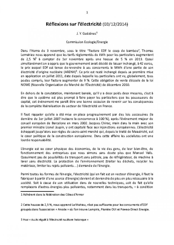 Réflexions sur l'électricité  par  J. Y. GUEZENEC (03/12/2014